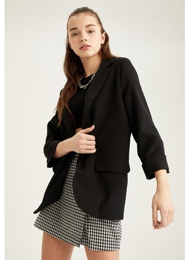 DeFacto Fleto Cepli Yarım Kollu Blazer Ceket Siyah